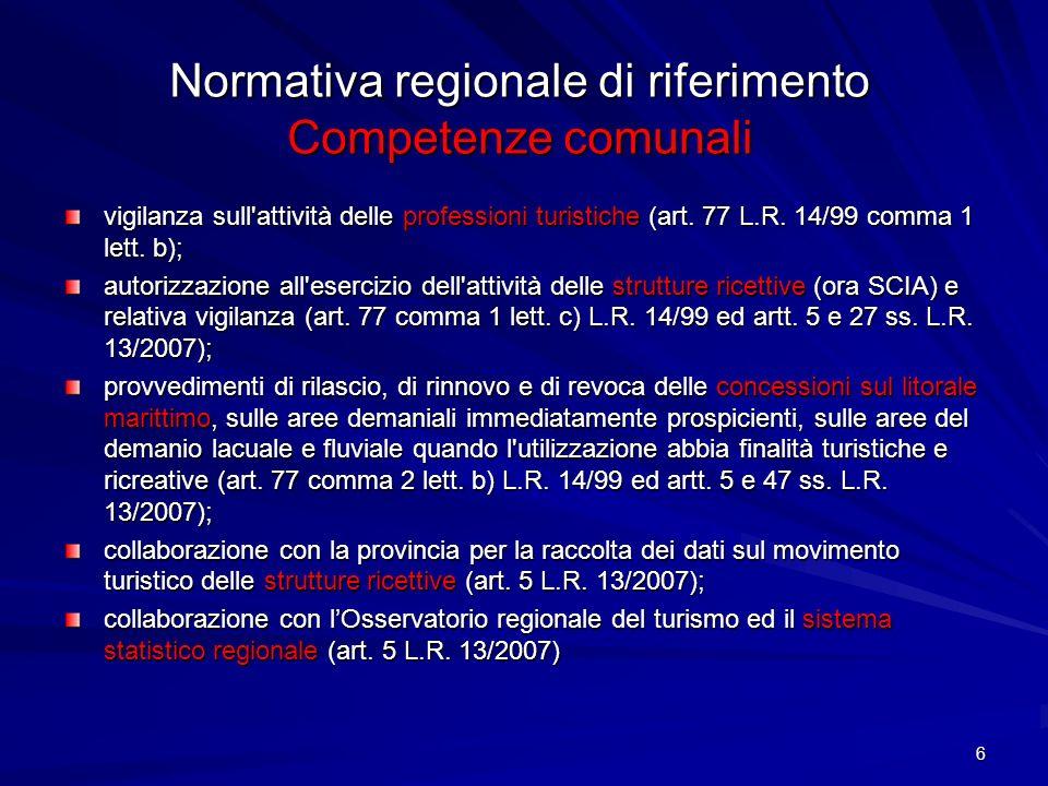 6 Normativa regionale di riferimento Competenze comunali vigilanza sull'attività delle professioni turistiche (art. 77 L.R. 14/99 comma 1 lett. b); au