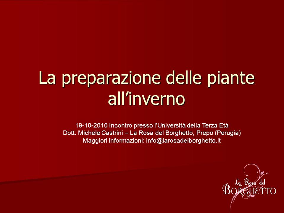 La preparazione delle piante allinverno 19-10-2010 Incontro presso lUniversità della Terza Età Dott. Michele Castrini – La Rosa del Borghetto, Prepo (