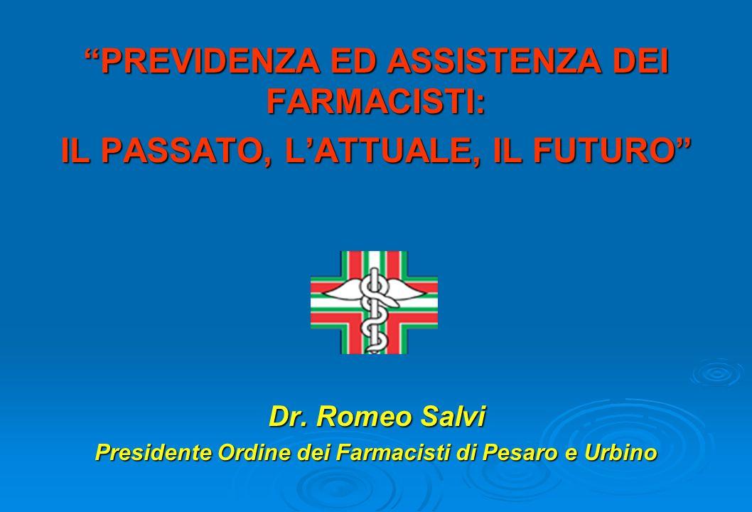 PREVIDENZA ED ASSISTENZA DEI FARMACISTI: IL PASSATO, LATTUALE, IL FUTURO Dr.