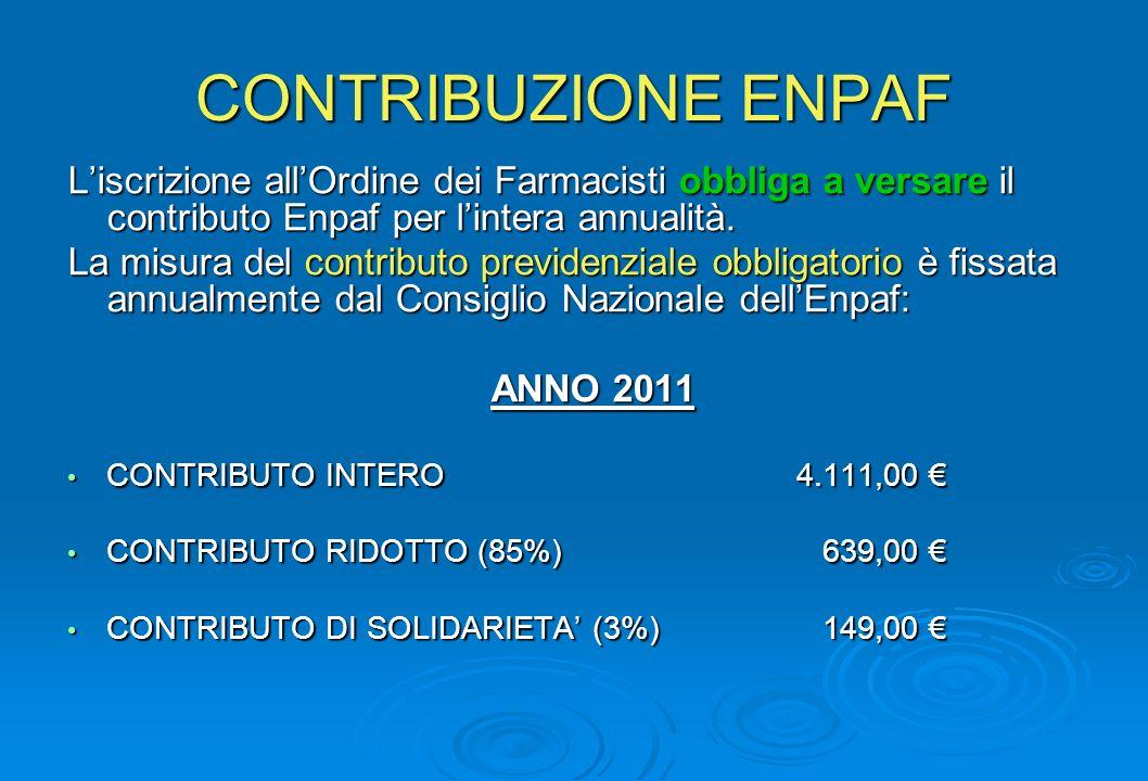 CONTRIBUZIONE ENPAF Liscrizione allOrdine dei Farmacisti obbliga a versare il contributo Enpaf per lintera annualità.