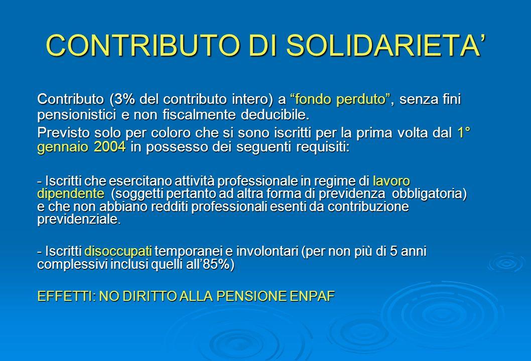 CONTRIBUTO DI SOLIDARIETA Contributo (3% del contributo intero) a fondo perduto, senza fini pensionistici e non fiscalmente deducibile.