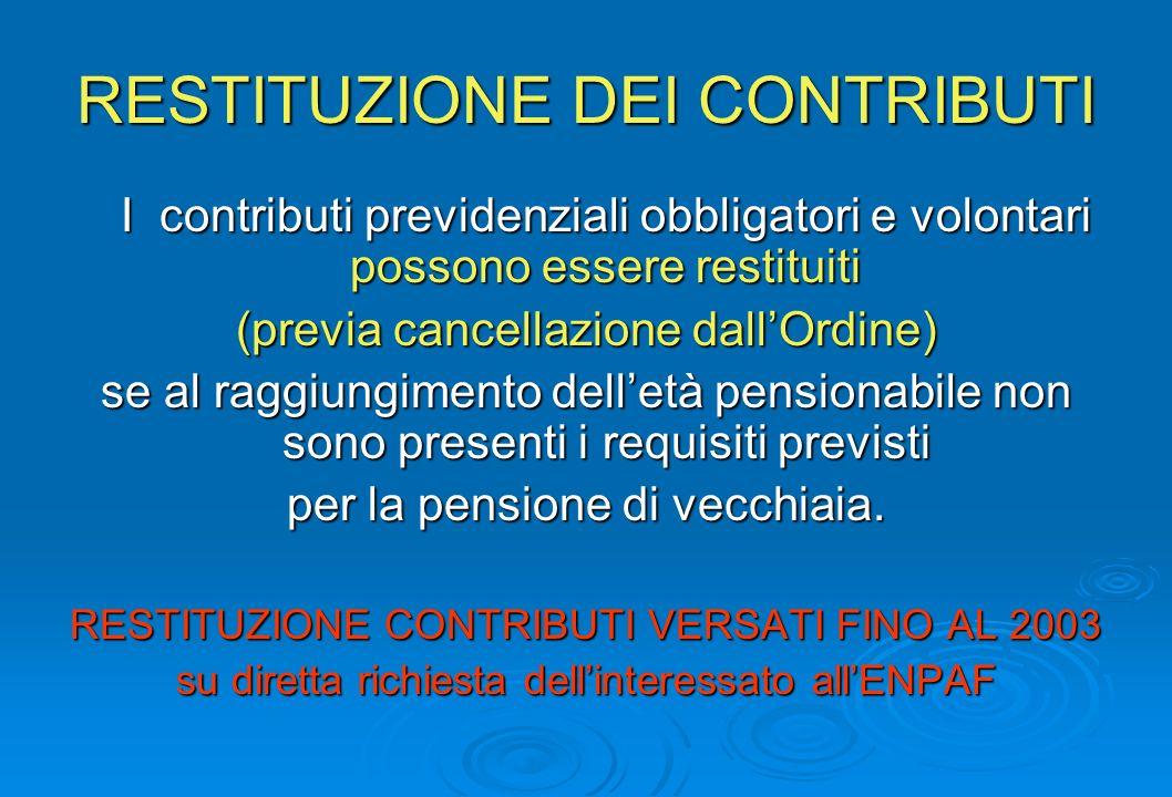 RESTITUZIONE DEI CONTRIBUTI I contributi previdenziali obbligatori e volontari possono essere restituiti (previa cancellazione dallOrdine) se al raggiungimento delletà pensionabile non sono presenti i requisiti previsti per la pensione di vecchiaia.