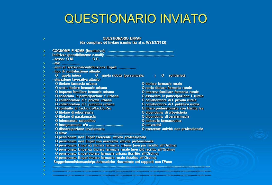 QUESTIONARIO INVIATO QUESTIONARIO ENPAF QUESTIONARIO ENPAF (da compilare ed inviare tramite fax al n.