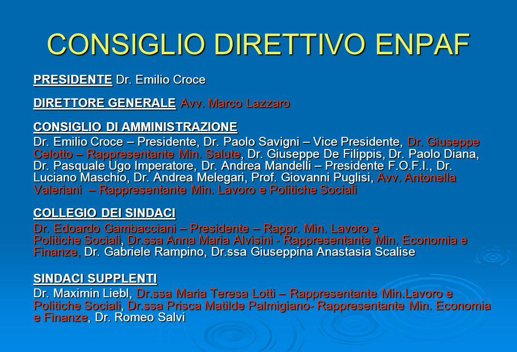 CONSIGLIO DIRETTIVO ENPAF PRESIDENTE Dr.Emilio Croce DIRETTORE GENERALE Avv.