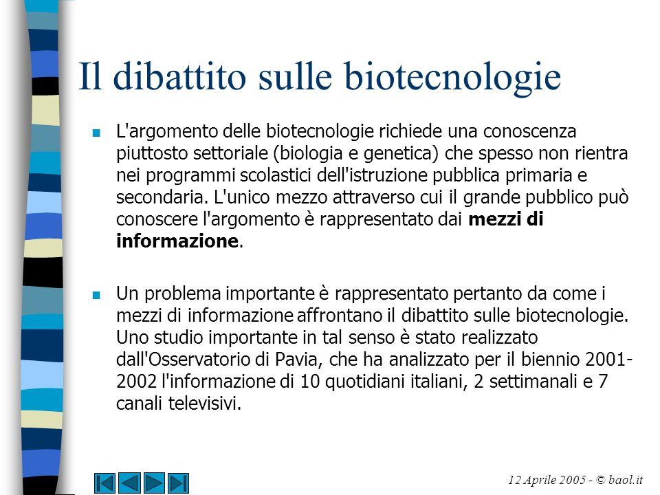 Il dibattito sulle biotecnologie n L'argomento delle biotecnologie richiede una conoscenza piuttosto settoriale (biologia e genetica) che spesso non r