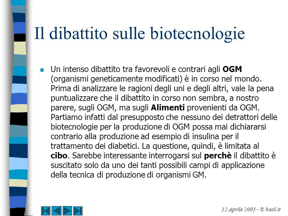Il dibattito sulle biotecnologie n Le principali questioni in campo riguardano n - la sicurezza dei cibi transgenici (CT) per la salute dell uomo e n - la sicurezza per l ambiente 12 Aprile 2005 - © baol.it