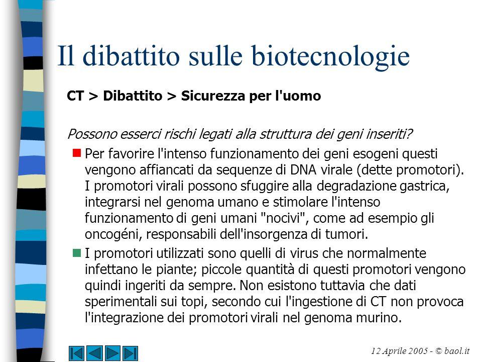 Il dibattito sulle biotecnologie CT > Dibattito > Sicurezza per l'uomo Possono esserci rischi legati alla struttura dei geni inseriti? Per favorire l'