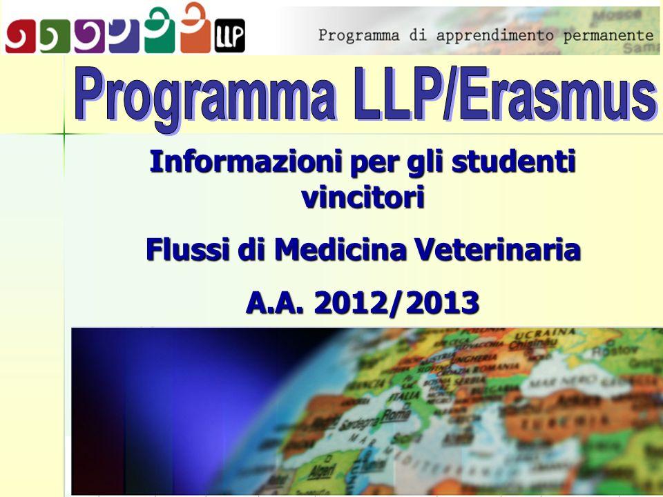 Informazioni per gli studenti vincitori Flussi di Medicina Veterinaria A.A. 2012/2013