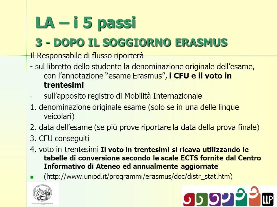 LA – i 5 passi 3 - DOPO IL SOGGIORNO ERASMUS Il Responsabile di flusso riporterà - sul libretto dello studente la denominazione originale dellesame, c