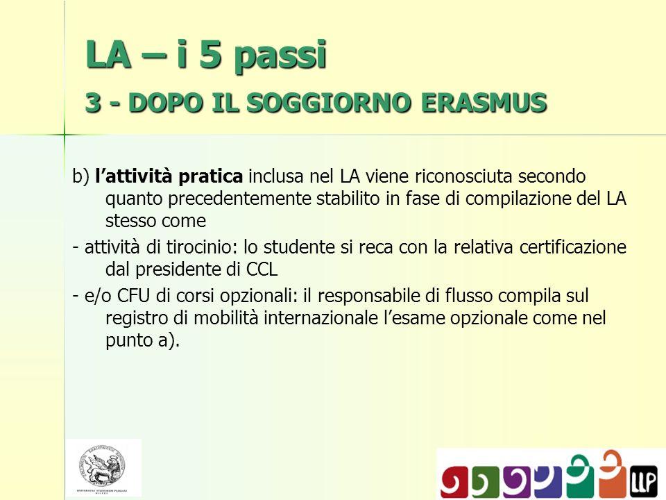 LA – i 5 passi 3 - DOPO IL SOGGIORNO ERASMUS b) lattività pratica inclusa nel LA viene riconosciuta secondo quanto precedentemente stabilito in fase d