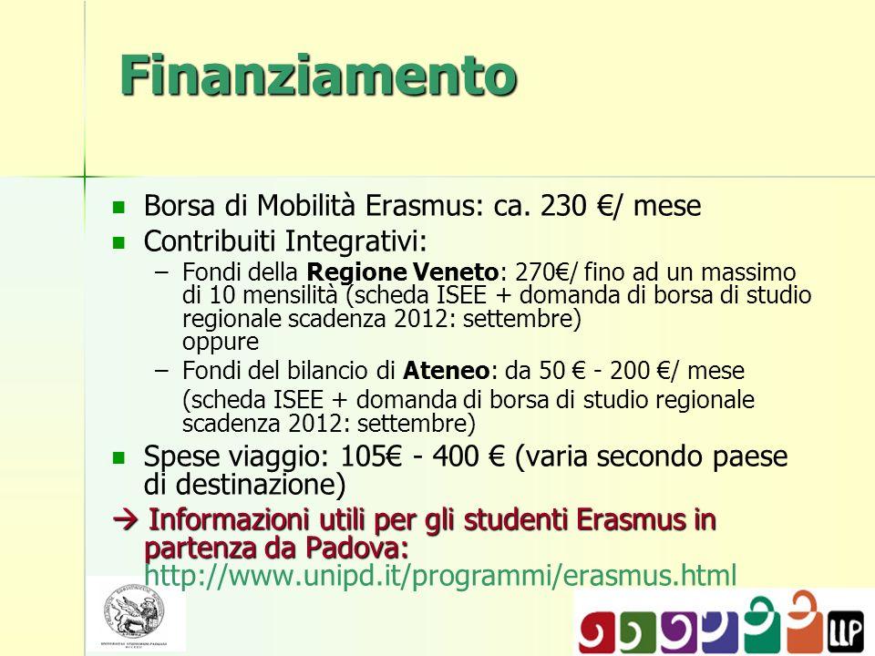 Finanziamento Borsa di Mobilità Erasmus: ca. 230 / mese Contribuiti Integrativi: – –Fondi della Regione Veneto: 270/ fino ad un massimo di 10 mensilit