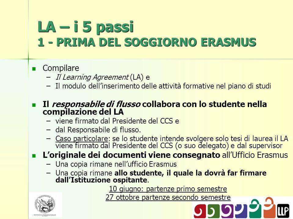 LA – i 5 passi 1 - PRIMA DEL SOGGIORNO ERASMUS Compilare – –Il Learning Agreement (LA) e – –Il modulo dellinserimento delle attività formative nel pia
