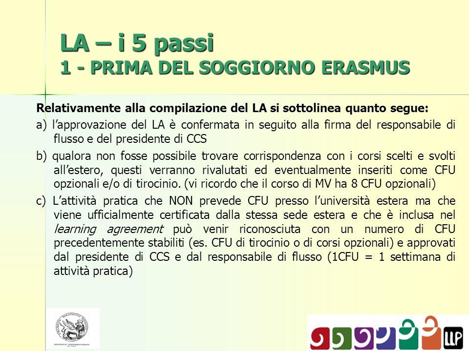 LA – i 5 passi 1 - PRIMA DEL SOGGIORNO ERASMUS Relativamente alla compilazione del LA si sottolinea quanto segue: a) lapprovazione del LA è confermata