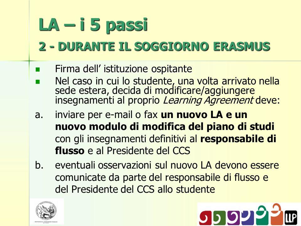 LA – i 5 passi 2 - DURANTE IL SOGGIORNO ERASMUS Firma dell istituzione ospitante Firma dell istituzione ospitante Nel caso in cui lo studente, una vol