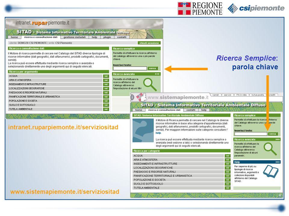 www.sistemapiemonte.it/serviziositad intranet.ruparpiemonte.it/serviziositad Ricerca Semplice: parola chiave