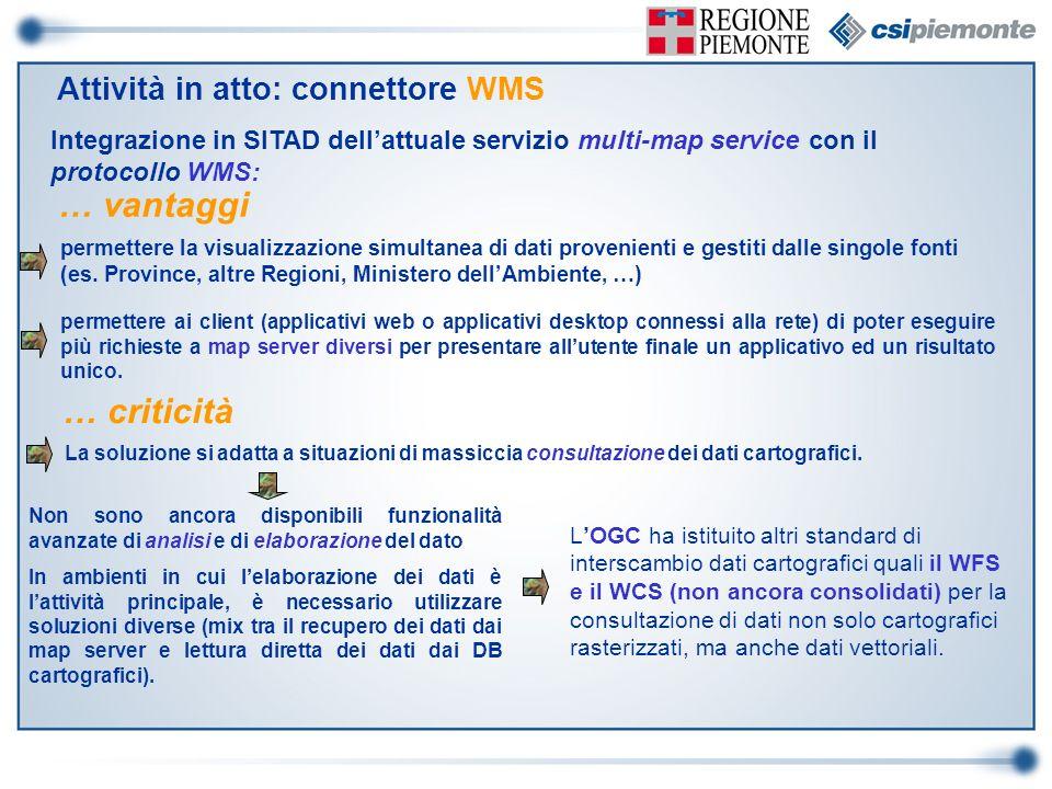 Integrazione in SITAD dellattuale servizio multi-map service con il protocollo WMS: permettere la visualizzazione simultanea di dati provenienti e ges