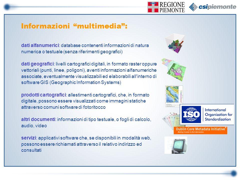 Informazioni multimedia: dati alfanumerici: database contenenti informazioni di natura numerica o testuale (senza riferimenti geografici) dati geograf
