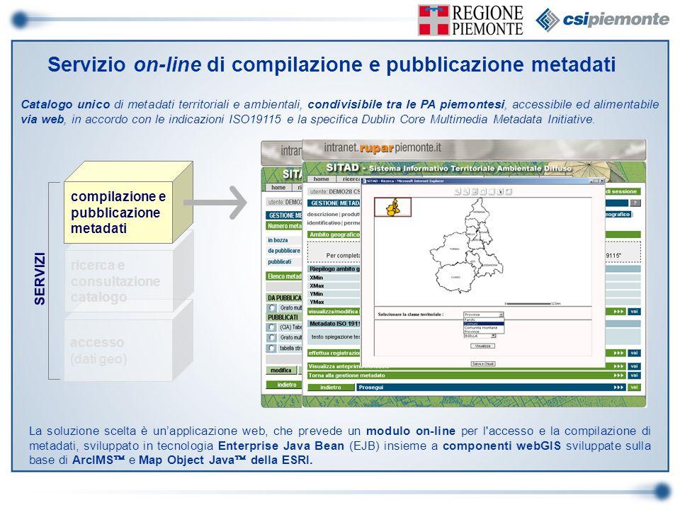 Servizio on-line di compilazione e pubblicazione metadati Catalogo unico di metadati territoriali e ambientali, condivisibile tra le PA piemontesi, ac