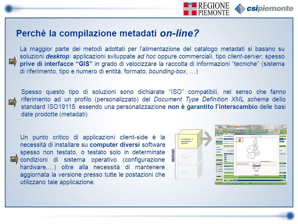 Perché la compilazione metadati on-line? La maggior parte dei metodi adottati per l'alimentazione del catalogo metadati si basano su soluzioni desktop