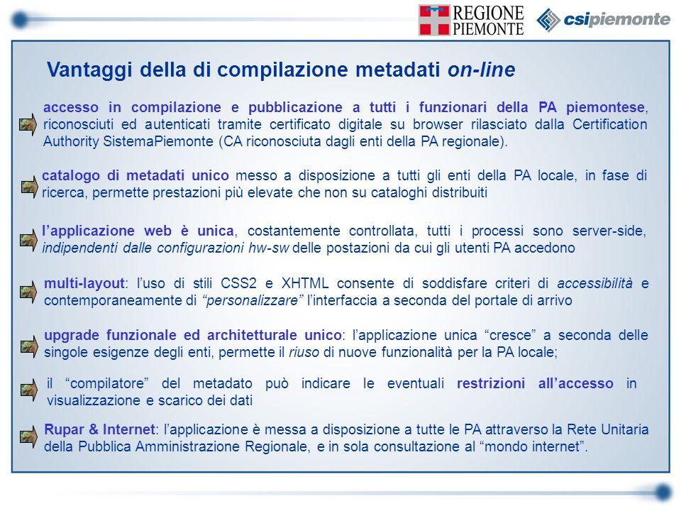 Vantaggi della di compilazione metadati on-line catalogo di metadati unico messo a disposizione a tutti gli enti della PA locale, in fase di ricerca,