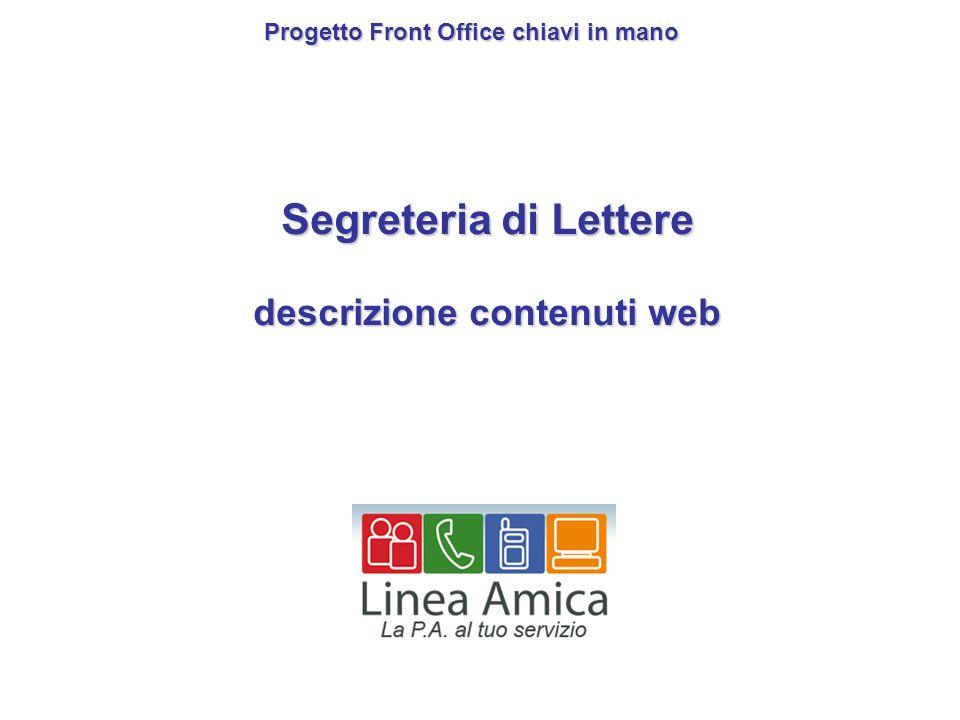 Segreteria di Lettere descrizione contenuti web Progetto Front Office chiavi in mano