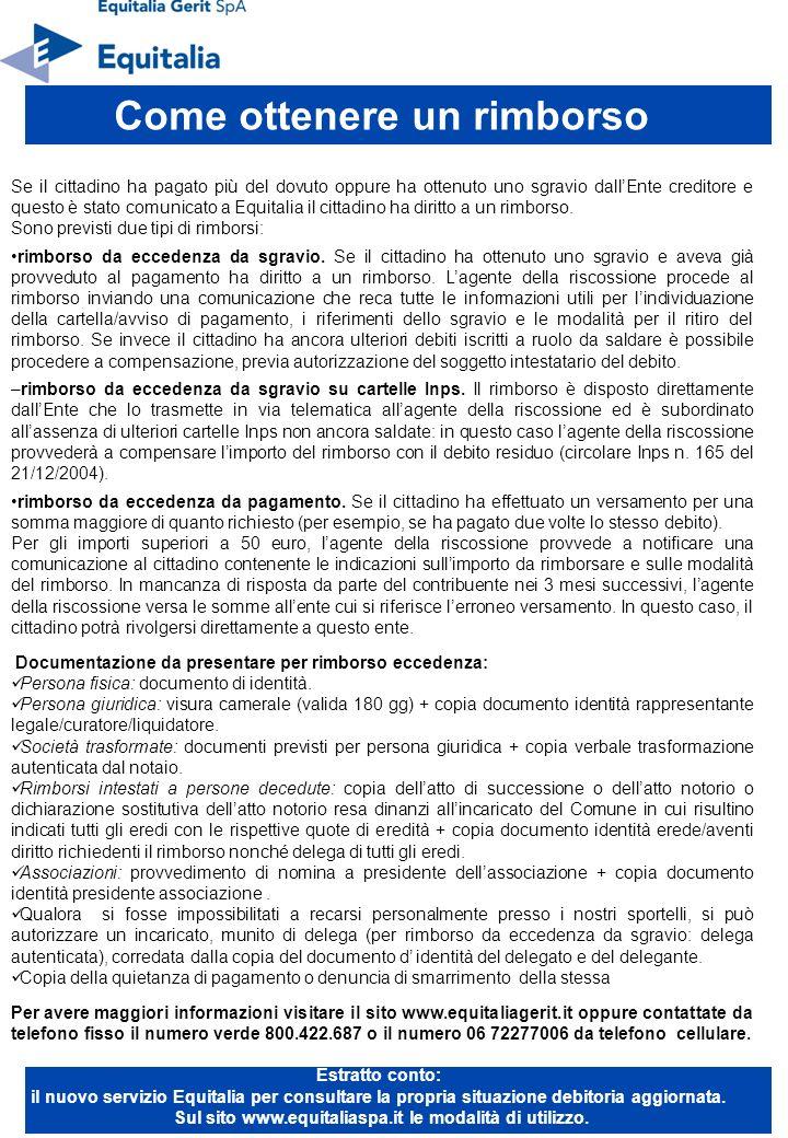 Se il cittadino ha pagato più del dovuto oppure ha ottenuto uno sgravio dallEnte creditore e questo è stato comunicato a Equitalia il cittadino ha diritto a un rimborso.