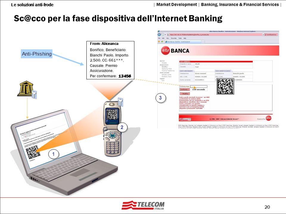 20 Le soluzioni anti-frode   Market Development   Banking, Insurance & Financial Services   1 1 2 2 3 3 From: Aliceanca Bonifico; Beneficiario: Bianch