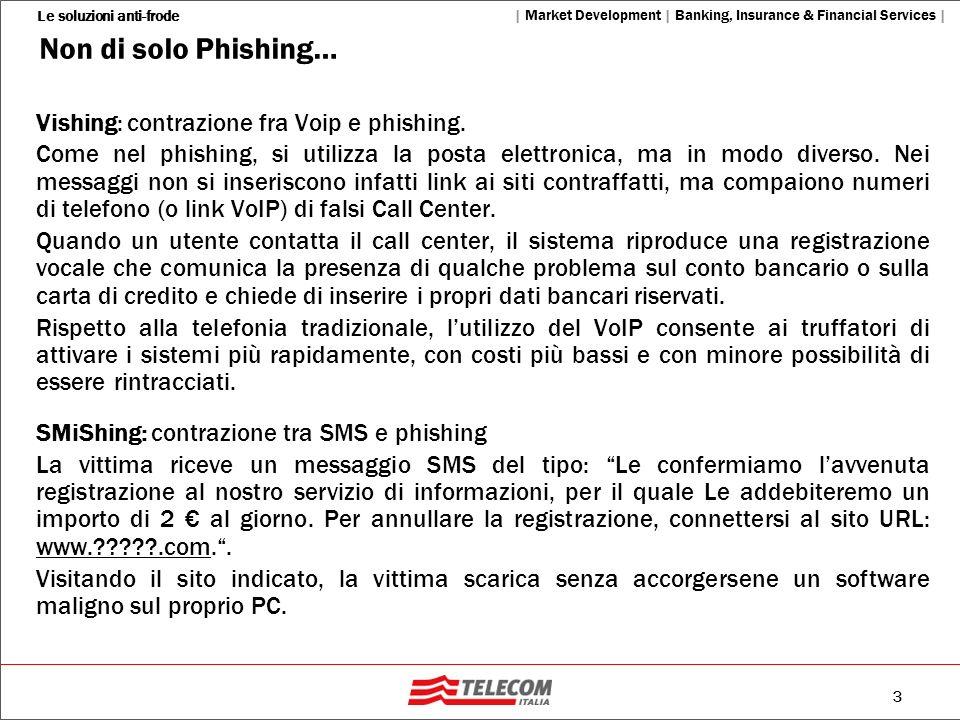 3 Le soluzioni anti-frode   Market Development   Banking, Insurance & Financial Services   Non di solo Phishing… Vishing: contrazione fra Voip e phish