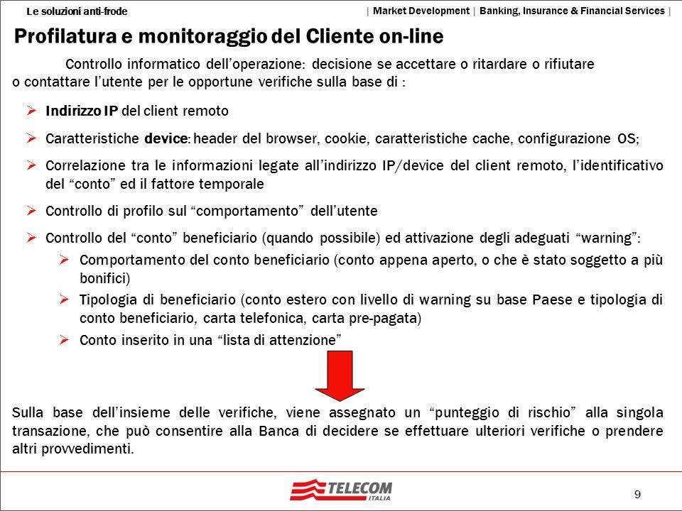 20 Le soluzioni anti-frode | Market Development | Banking, Insurance & Financial Services | 1 1 2 2 3 3 From: Aliceanca Bonifico; Beneficiario: Bianchi Paolo, Importo: 2,500, CC: 661***, Causale: Premio Assicurazione.