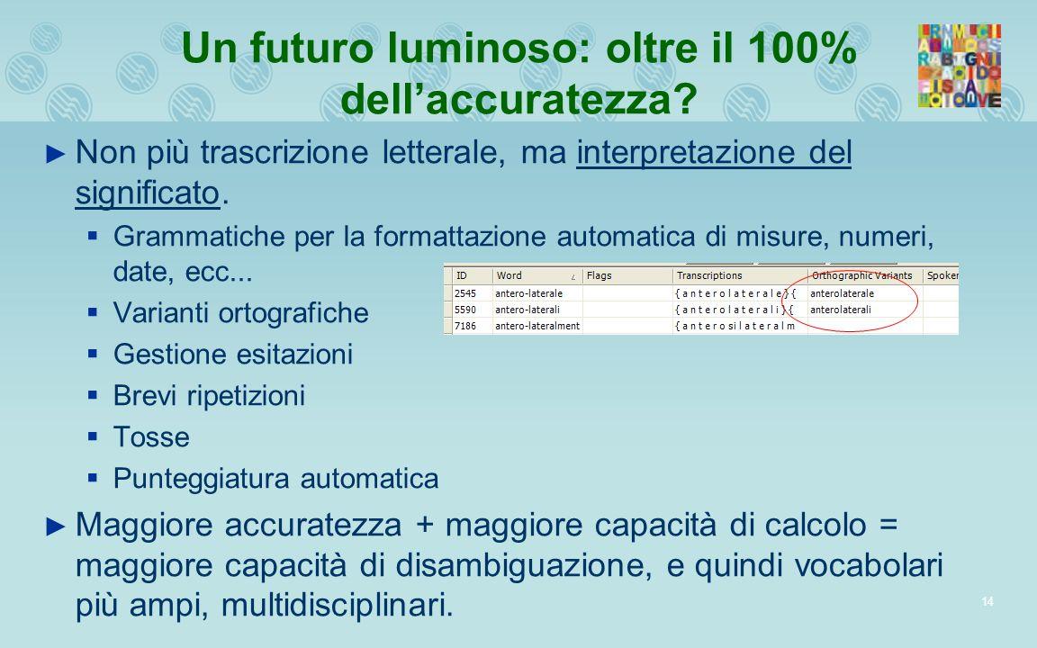 14 Un futuro luminoso: oltre il 100% dellaccuratezza? Non più trascrizione letterale, ma interpretazione del significato. Grammatiche per la formattaz