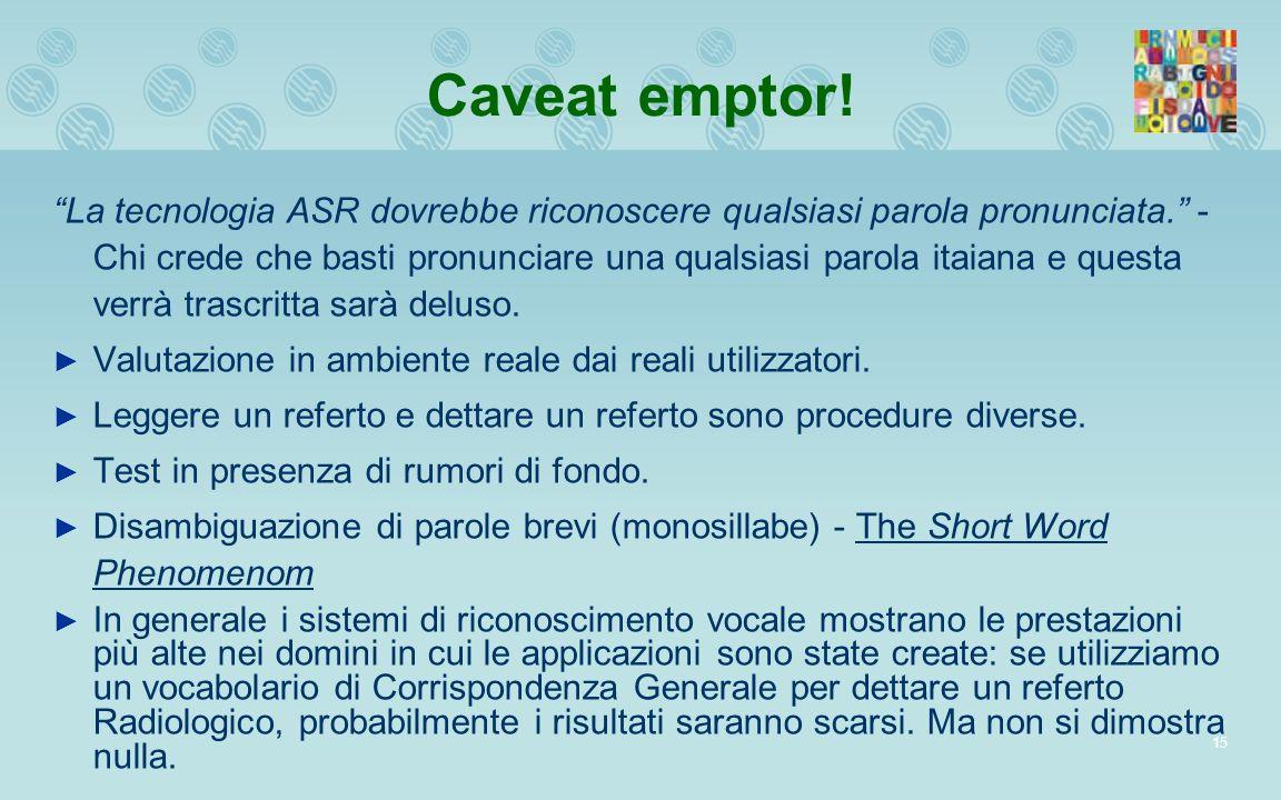15 Caveat emptor! La tecnologia ASR dovrebbe riconoscere qualsiasi parola pronunciata. - Chi crede che basti pronunciare una qualsiasi parola itaiana
