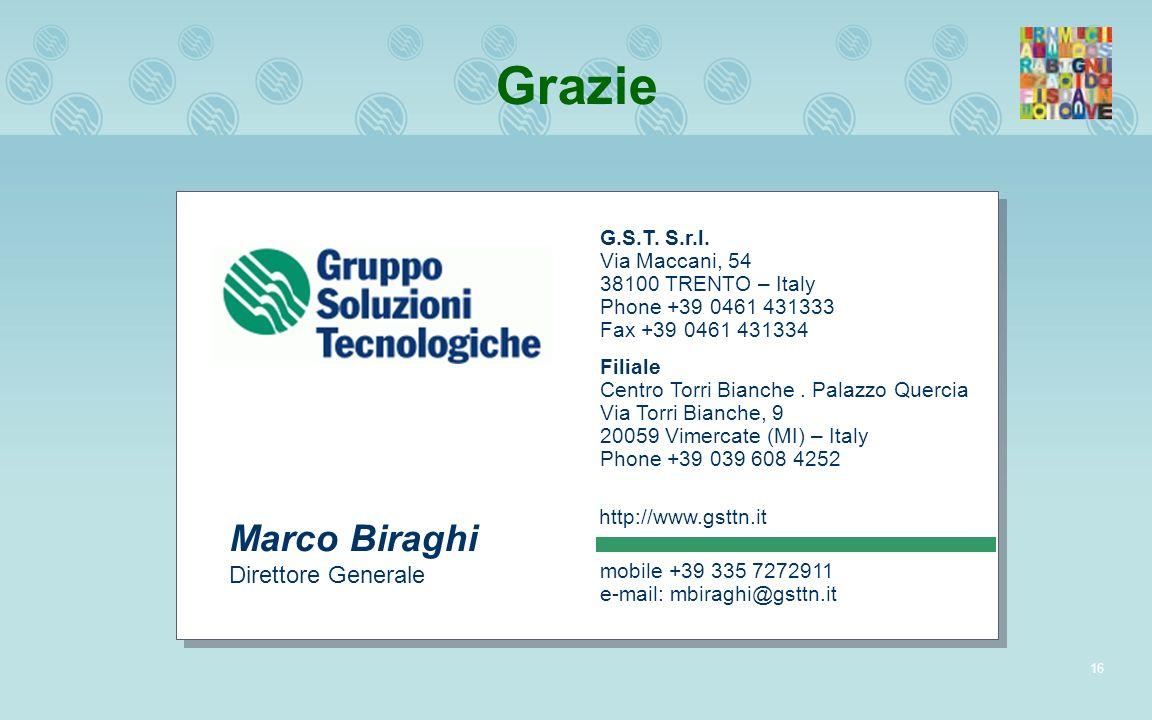 16 Grazie G.S.T. S.r.l. Via Maccani, 54 38100 TRENTO – Italy Phone +39 0461 431333 Fax +39 0461 431334 Filiale Centro Torri Bianche. Palazzo Quercia V