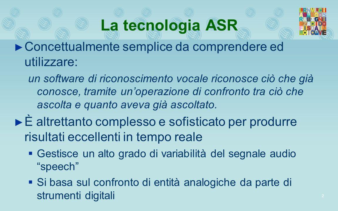 2 La tecnologia ASR Concettualmente semplice da comprendere ed utilizzare: un software di riconoscimento vocale riconosce ciò che già conosce, tramite