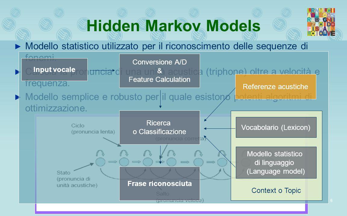 6 Hidden Markov Models Modello statistico utilizzato per il riconoscimento delle sequenze di fonemi. Calcola la pronuncia di una unità acustica (triph