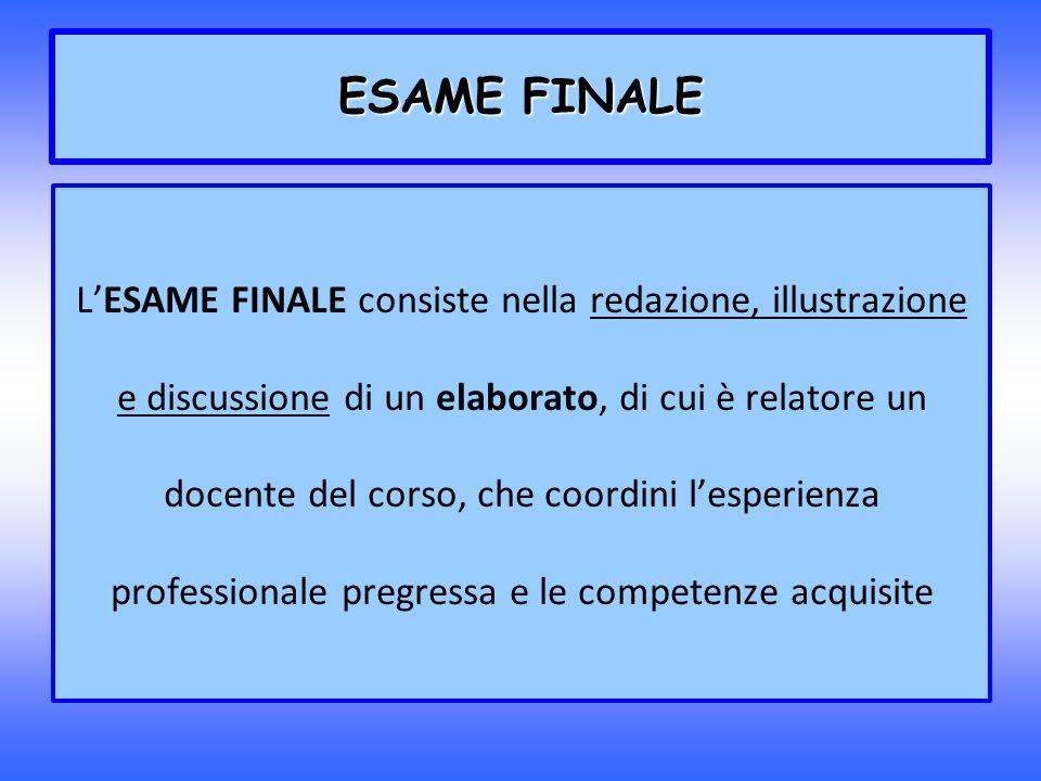 ESAME FINALE LESAME FINALE consiste nella redazione, illustrazione e discussione di un elaborato, di cui è relatore un docente del corso, che coordini
