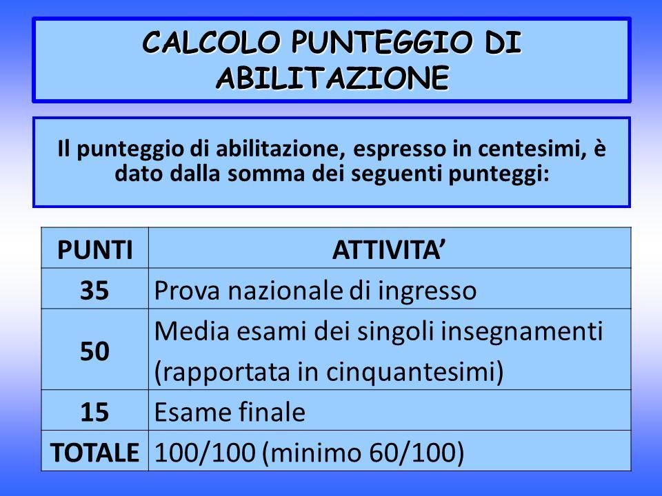 CALCOLO PUNTEGGIO DI ABILITAZIONE Il punteggio di abilitazione, espresso in centesimi, è dato dalla somma dei seguenti punteggi: PUNTIATTIVITA 35Prova