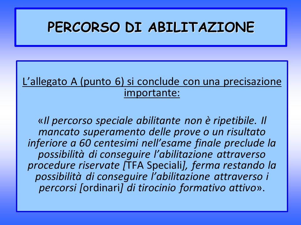 Lallegato A (punto 6) si conclude con una precisazione importante: «Il percorso speciale abilitante non è ripetibile. Il mancato superamento delle pro
