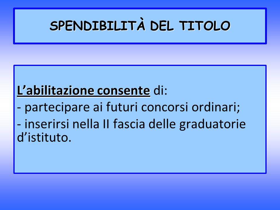 SPENDIBILITÀ DEL TITOLO Labilitazione consente Labilitazione consente di: - partecipare ai futuri concorsi ordinari; - inserirsi nella II fascia delle