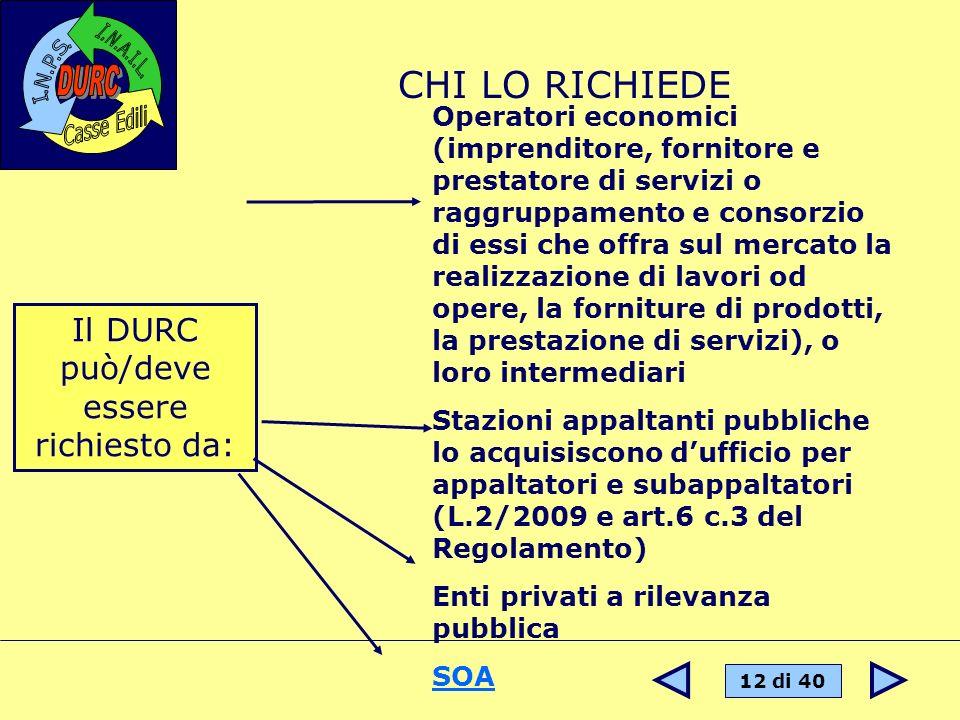 12 di 40 Il DURC può/deve essere richiesto da: Operatori economici (imprenditore, fornitore e prestatore di servizi o raggruppamento e consorzio di es