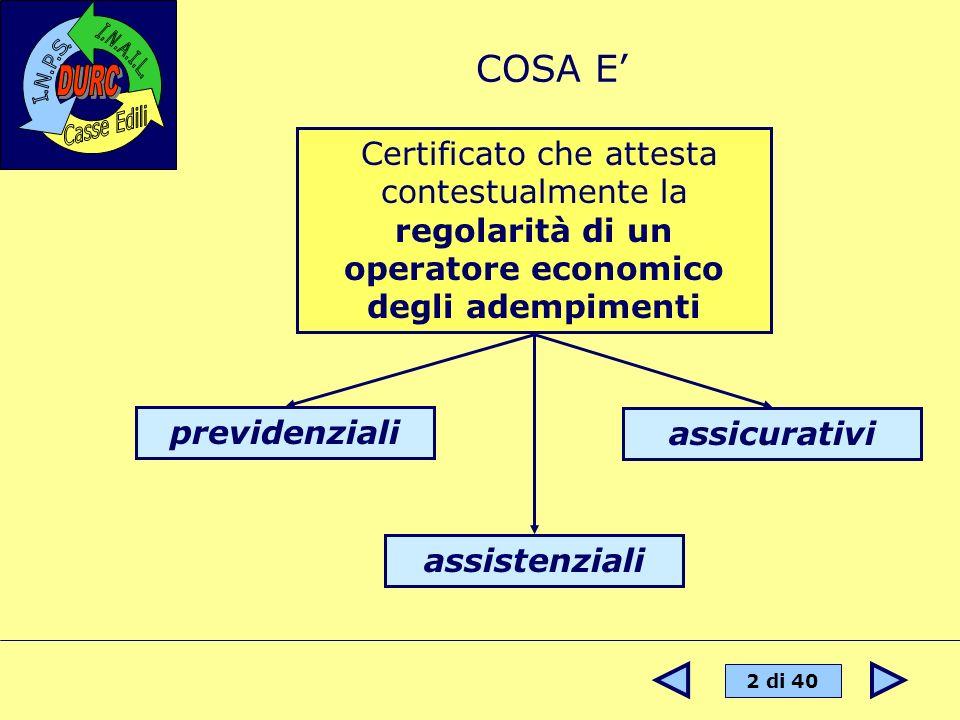 2 di 40 COSA E Certificato che attesta contestualmente la regolarità di un operatore economico degli adempimenti previdenziali assistenziali assicurat