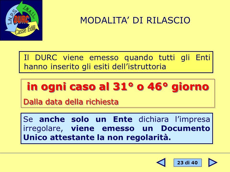 23 di 40 Il DURC viene emesso quando tutti gli Enti hanno inserito gli esiti dellistruttoria MODALITA DI RILASCIO Se anche solo un Ente dichiara limpr