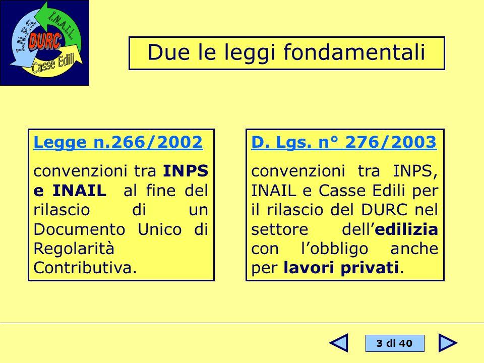 3 di 40 Legge n.266/2002 convenzioni tra INPS e INAIL al fine del rilascio di un Documento Unico di Regolarità Contributiva. D. Lgs. n° 276/2003 conve