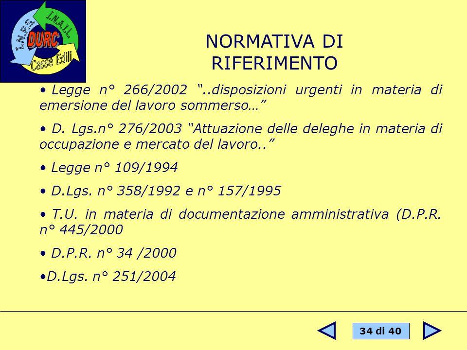34 di 40 NORMATIVA DI RIFERIMENTO Legge n° 266/2002..disposizioni urgenti in materia di emersione del lavoro sommerso… D. Lgs.n° 276/2003 Attuazione d