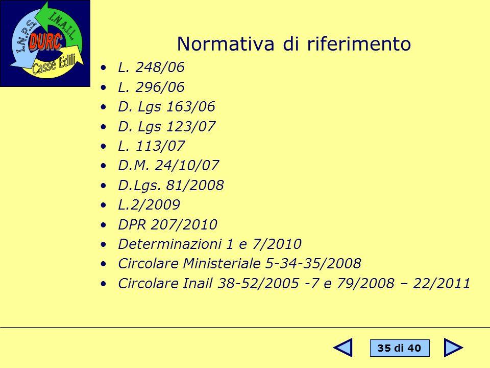 35 di 40 Normativa di riferimento L. 248/06 L. 296/06 D. Lgs 163/06 D. Lgs 123/07 L. 113/07 D.M. 24/10/07 D.Lgs. 81/2008 L.2/2009 DPR 207/2010 Determi