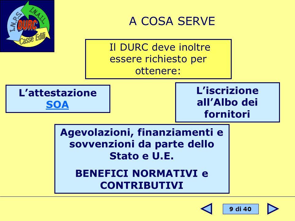 9 di 40 A COSA SERVE Il DURC deve inoltre essere richiesto per ottenere: Lattestazione SOA SOA Agevolazioni, finanziamenti e sovvenzioni da parte dell