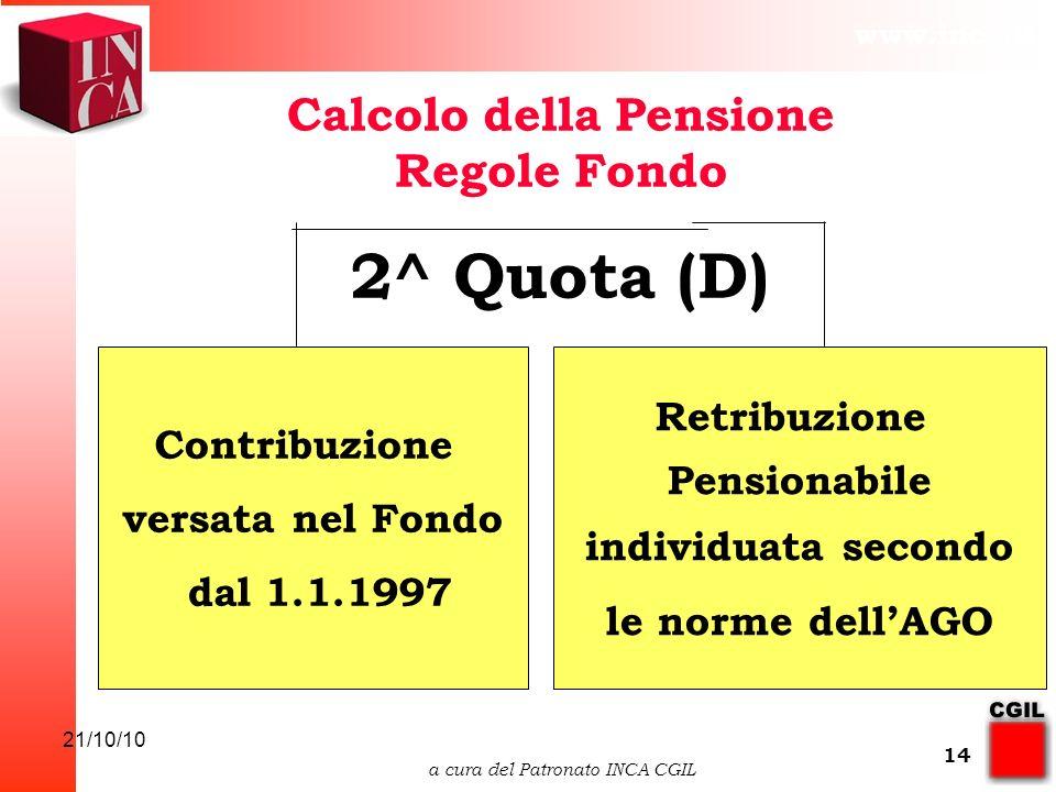 www.inca.it 21/10/10 a cura del Patronato INCA CGIL 14 Calcolo della Pensione Regole Fondo Contribuzione versata nel Fondo dal 1.1.1997 Retribuzione Pensionabile individuata secondo le norme dellAGO 2^ Quota (D)