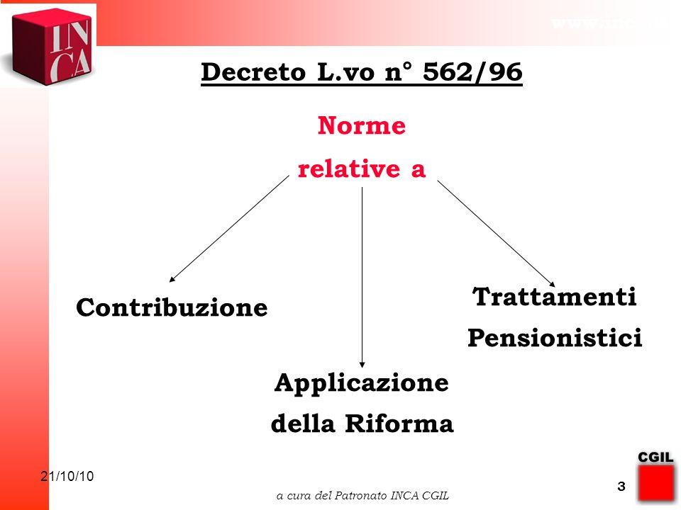www.inca.it 21/10/10 a cura del Patronato INCA CGIL 3 Decreto L.vo n° 562/96 Contribuzione Trattamenti Pensionistici Applicazione della Riforma Norme relative a
