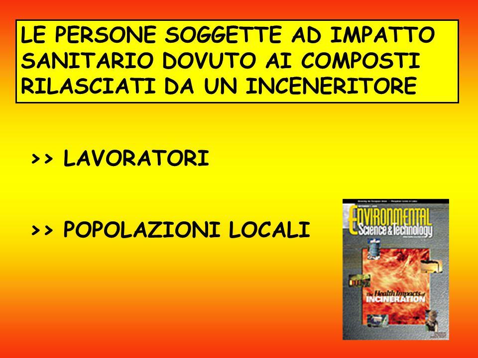 LE PERSONE SOGGETTE AD IMPATTO SANITARIO DOVUTO AI COMPOSTI RILASCIATI DA UN INCENERITORE >> LAVORATORI >> POPOLAZIONI LOCALI