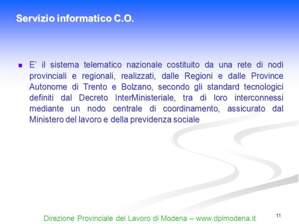 Direzione Provinciale del Lavoro di Modena – www.dplmodena.it 11 E il sistema telematico nazionale costituito da una rete di nodi provinciali e region