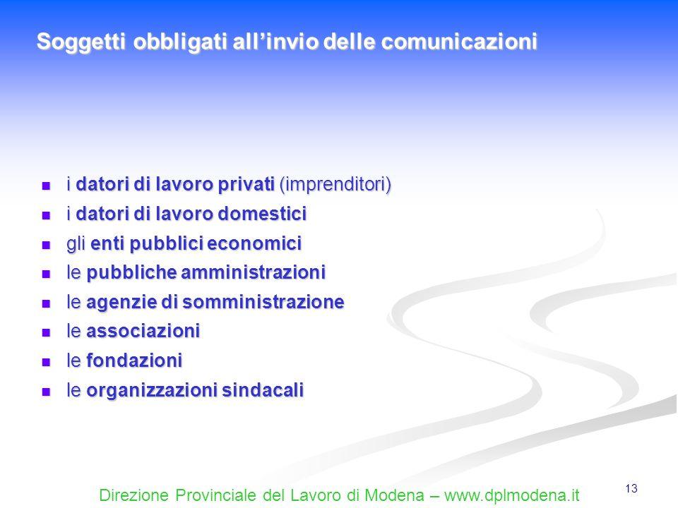 Direzione Provinciale del Lavoro di Modena – www.dplmodena.it 13 i datori di lavoro privati (imprenditori) i datori di lavoro privati (imprenditori) i